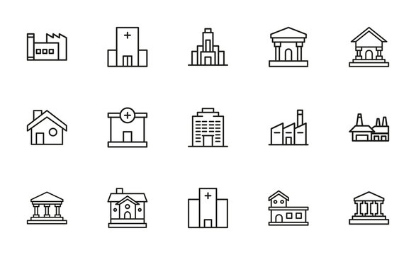 Simple set of architecture icons in trendy line style.