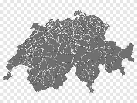 Blank map Switzerland. Departments of Switzerland map. High detailed gray vector map of Switzerland on transparent background for your web site design, logo, app, UI. EPS10.