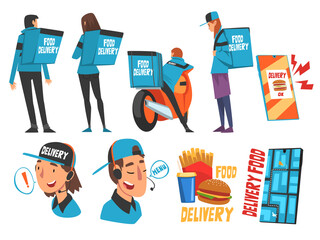 Food Express Delivery Service Set, Online Ordering, Couriers Wearing Blue Uniform Carrying Backpack Boxes Cartoon Style Vector Illustration