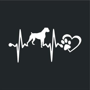 Boxer Dog Heartbeat design vector new