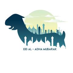Eid Al Adha with goat illustration, Eid Al - Adha Mubarak.
