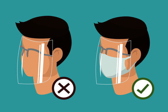 Man wear protective medical facial mask and glasses with face shield cartoon isometric design icon vector illustration. Infectious control and prevent corona virus, covid-19 pandemic concept.