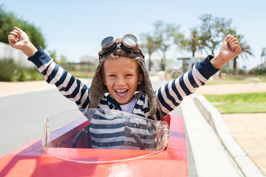 Excited child winning car race