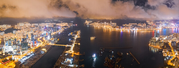 Wall Mural - Panorama view of Victoria Harbour at night