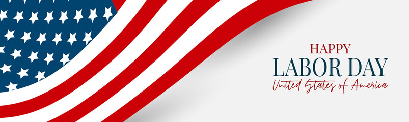 Labor Day banner or header. USA national federal holiday design. American flag background. Realistic vector illustration.