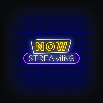 Now Streaming Neon Signs Style Text Vector