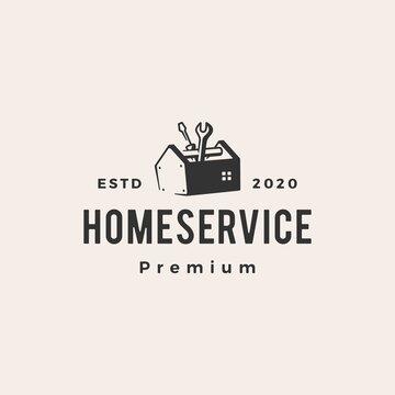 home house service hipster vintage logo vector icon illustration