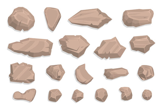 Stones set. Top view. Collection for landscape design, plan, maps. (View from above)