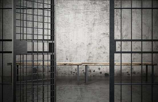 Prison cell with open door and old dirty walls. 3D illustration