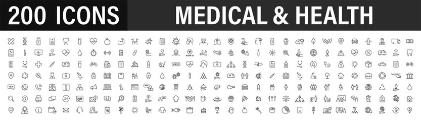 Set of 200 Medical and Health web icons in line style. Medicine and Health Care, RX, infographic. Vector illustration.