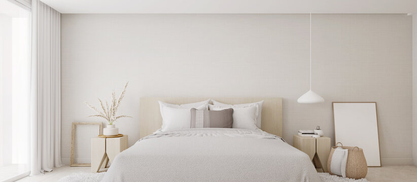 White bedroom interior.Earth tones design3d rendering