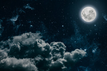 Wall Mural - backgrounds night sky with stars and moon and clouds