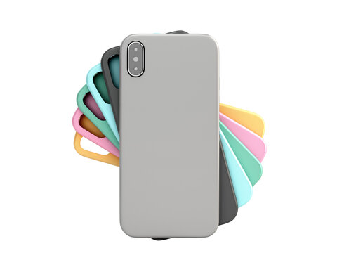 multicolored phone cases presentation for showcase 3d render on white no shadow