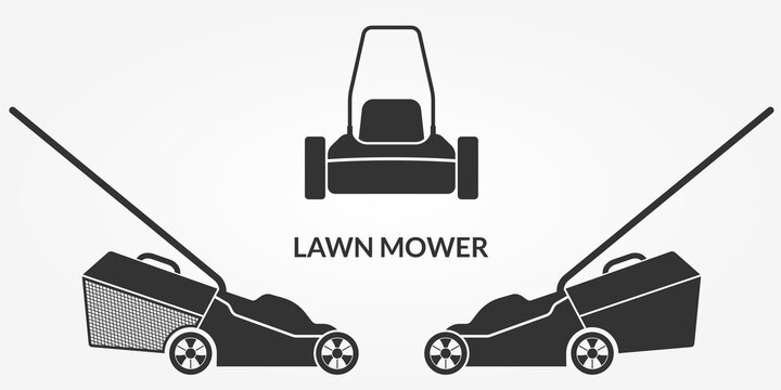 Lawn mower icon set. Lawnmower silhouettes. Grass care machine. Vector illustration.