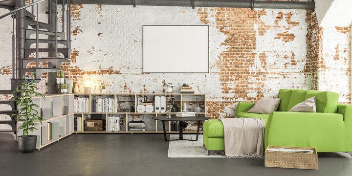 Poster Frame Mock up  with sofa in old vintage Loft Apartment Interior - 3d rendering