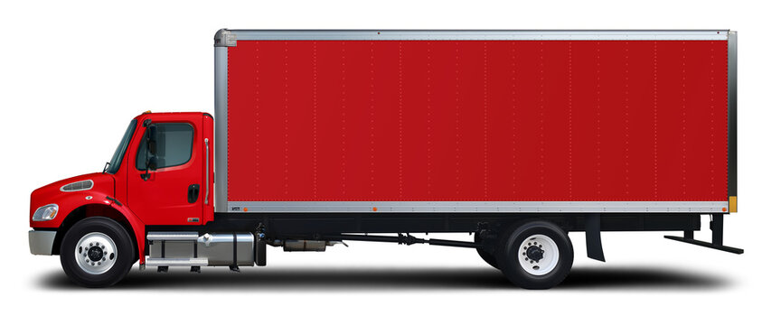 American delivery truck red color side view isolated on a white background.