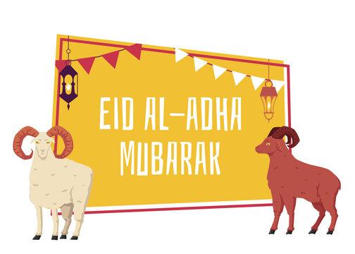 Aid al adha mubarak banner or poster, flat vector illustration isolated.