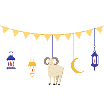 Garland or bunting for Aid al adha holiday, flat vector illustration isolated.