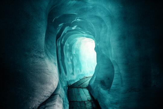 Scenic view of ice cave at Rhone glacier