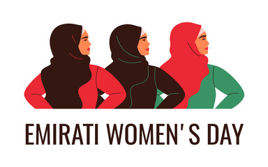 Three Arabian women are standing together. Emirati Women's day greeting card with young Muslim females wearing colorful hijabs. Vector illustration in flat style
