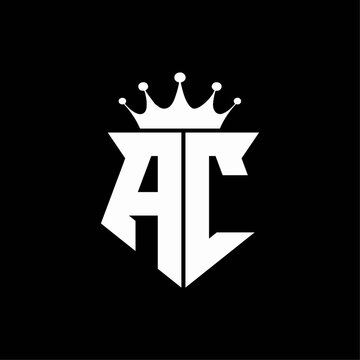 ac logo monogram shield shape with crown design template