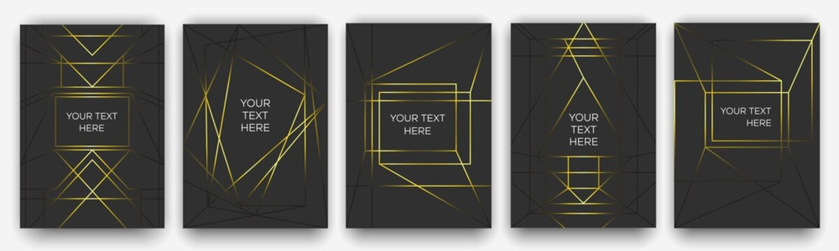 Gold on black. A4 layout for modern design. Luxury templates for corporate printing.