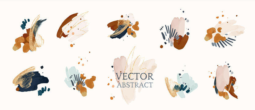 Set abstract shapes, splash gold. watercolor concept. Navy blue poster, invite. Vector decorative greeting  or invitation design background