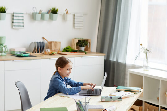 Wide angle portrait of mischievous little girl using laptop and smiling while left alone to do homework, copy space