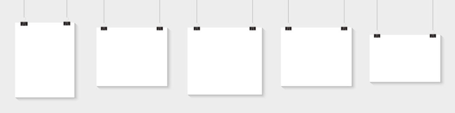White poster hanging. Mock up empty paper blank