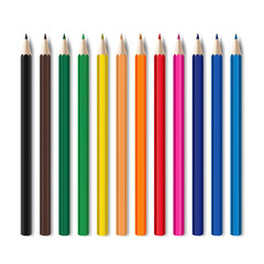Colored pencils set for bright colorful drawing