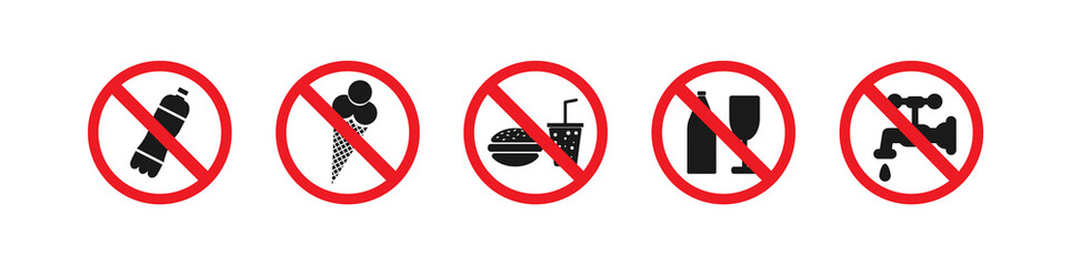 Forbidding red circle. No entry: drinks, ice cream, food, alcoholic beverages