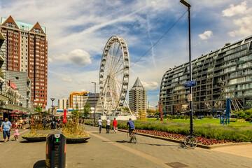 Foto auf Leinwand Rotterdam Rotterdam, City, Markthalle, centrum, Riesenrad, Turm