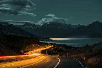 Door stickers Black Long exposure over a highway on the background of Mount Cook in New Zealand