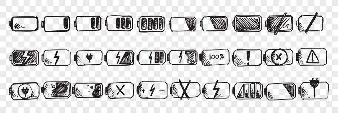Hand drawn mobile battery doodle set