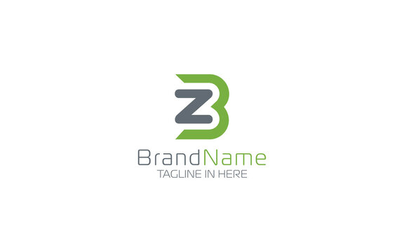Letter Z and B logo in green and grey color