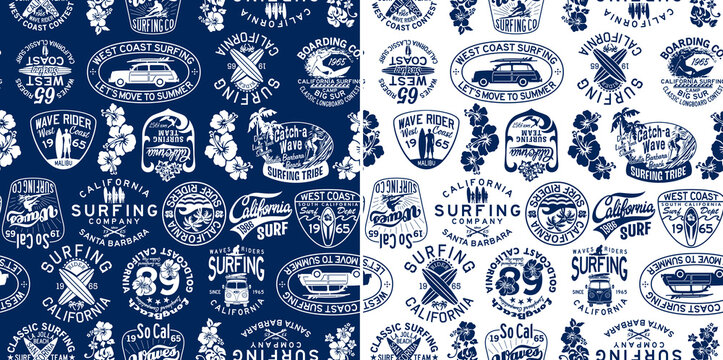 West coast California surfing company badges vector seamless pattern