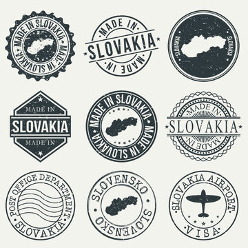Slovakia Set of Stamps. Travel Stamp. Made In Product. Design Seals Old Style Insignia.