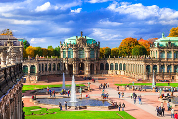 Famous Zwinger museum and Gallery in Dresden - one of the most magnificent Baroque buildings in Germany. October 2013