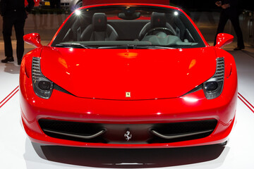 AMSTERDAM - APRIL 16, 2015: Ferrari 458 Spider at the AutoRAI 2015. The 458 replaced the Ferrari F430 in 2009 and is now replaced by the Ferrari 488 GTB which was unveiled in Geneva 2015.