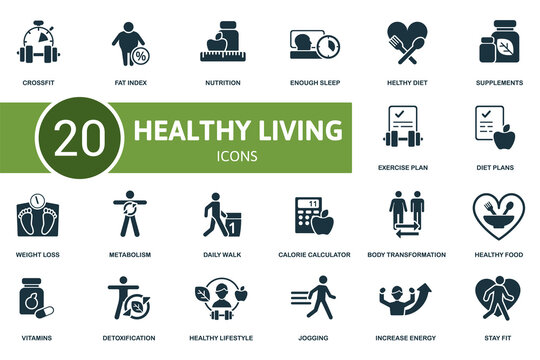 Healthy Lifestyle icon set. Collection contain weight loss, healthy diet, healthy food, calorie calculator and over icons. Healthy Lifestyle elements set