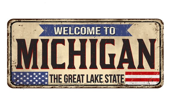 Illustration of a sign with a text ''Welcome to Michigan'' on a white background