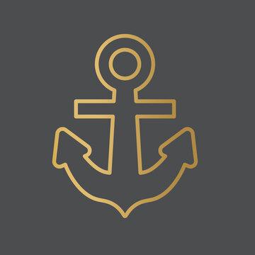 golden anchor icon- vector illustration