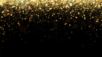 Fototapeta Festive vector background with gold glitter and confetti for christmas celebration. Black background with glowing golden particles. obraz