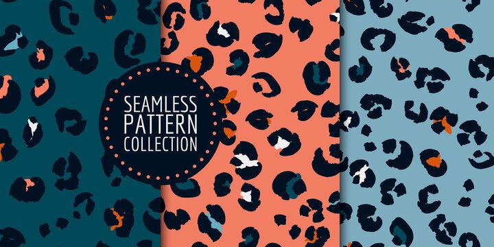Hand-drawn leopard spots seamless pattern set in vector