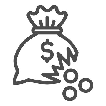 Bag of money with hole and coins line icon, financial problem concept, leaking coins from torn money bag sign on white background, Hole in moneybag icon in outline style. Vector graphics.