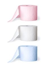 drei Rollen Toilettenpapier freigestellt auf weiß
