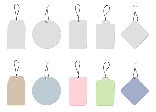 collection of cardboard labels or price tags isolated on white background vector illustration