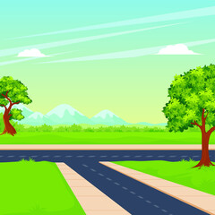 Photo sur Plexiglas Vert corail Crossroads with scenery nature landscape, green grass, tree and mountain.