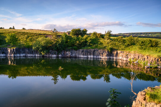 Quarry at Stanhope now disused, Stanhope is a small market town in County Durham situated on the upper reaches of the River Wear in Weardale