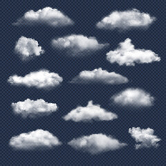 Fototapeta Clouds realistic. Nature sky weather symbols rain or snow cloud vector collection. Cloud and sky, cloudy meteorology, weather elements illustration obraz